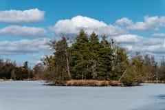 Île dans le lac congelé Photographie stock