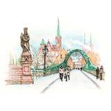 Île de cathédrale à Wroclaw, Pologne illustration libre de droits