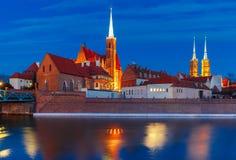 Île de cathédrale la nuit à Wroclaw, Pologne images stock