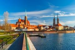 Île de cathédrale pendant le matin, Wroclaw, Pologne Image libre de droits