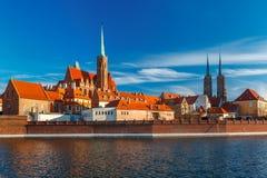 Île de cathédrale pendant le matin, Wroclaw, Pologne photos stock