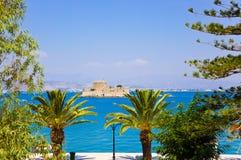 Île de château de Bourtzi dans Nafplion, Grèce Images libres de droits