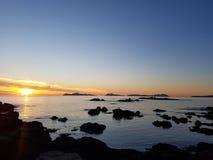 Île de cies de coucher du soleil de Vigo photos libres de droits