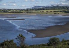 Île de Cramond, Edimbourg, Ecosse, R-U - la plage à marée basse images libres de droits