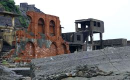 Île de cuirassé de Gunkanjima à Nagasaki Japon Images libres de droits