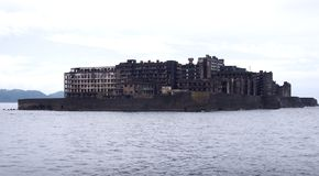 Île de cuirassé de Gunkanjima à Nagasaki Japon Photographie stock libre de droits
