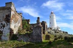 Île de Flores et son phare Photographie stock