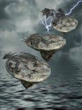 Île de flottement avec des dragons Photos libres de droits