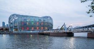 Île de flottement colorée et belle de Séoul au crépuscule Photographie stock libre de droits