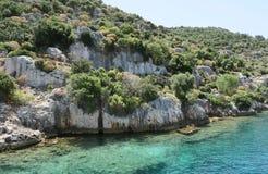 Île de Kekova et les ruines de la ville submergée Simena dans la province d'Antalya, Turquie Image libre de droits