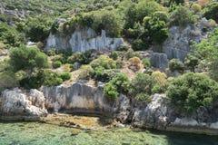 Île de Kekova et les ruines de la ville submergée Simena dans la province d'Antalya, Turquie Photographie stock libre de droits