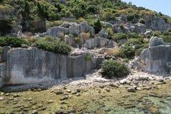 Île de Kekova et les ruines de la ville submergée Simena dans la province d'Antalya, Turquie Photo libre de droits