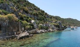 Île de Kekova et les ruines de la ville submergée Simena dans la province d'Antalya, Turquie Photographie stock