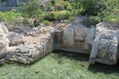 Île de Kekova et les ruines de la ville submergée Simena dans la province d'Antalya, Turquie Photos libres de droits
