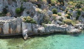 Île de Kekova et les ruines de la ville submergée Simena dans la province d'Antalya, Turquie Images libres de droits