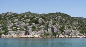 Île de Kekova et les ruines de la ville submergée Simena dans la province d'Antalya, Turquie Images stock