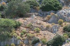 Île de Kekova, mer de Mediterranian et les ruines de la ville submergée Simena dans la province d'Antalya Images libres de droits