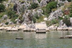 Île de Kekova, mer de Mediterranian et les ruines de la ville submergée Simena dans la province d'Antalya, Turquie Photographie stock libre de droits