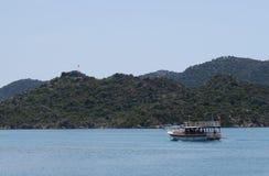 Île de Kekova, mer de Mediterranian et les ruines de la ville submergée Simena dans la province d'Antalya, Turquie Photo libre de droits