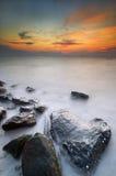 Île de Labuan de coucher du soleil photo stock