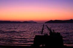 Île de Milos au coucher du soleil Photos libres de droits