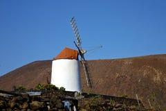 Île de moulins à vent de cactus de Lanzarote Espagne et ciel Photographie stock libre de droits