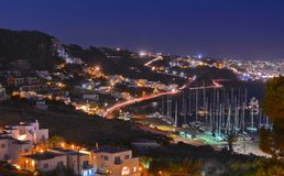 Île de Mykonos par nuit Photos libres de droits