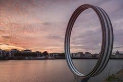 Île de Nantes au coucher du soleil Photos stock