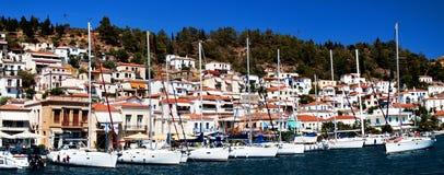 Île de Poros, Grèce, marina de yacht Image stock