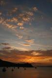 Île de Rangitoto sur le coucher du soleil Images libres de droits