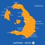 Île de santorini à la carte orange de la Grèce et à l'arrière-plan bleu Photo stock