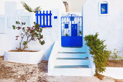 Île de Santorini, Grèce Vieille architecture traditionnelle pittoresque Photos stock