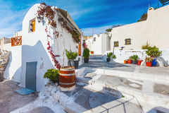 Île de Santorini, Grèce Village pittoresque d'Emporio Photo stock