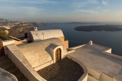 Île de Santorini, Thira, paysage d'îles de Cyclades Photographie stock libre de droits