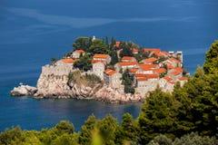 Île de Sveti Stefan au Monténégro photo stock