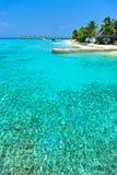 Île des Maldives avec la mer bleue Photos libres de droits