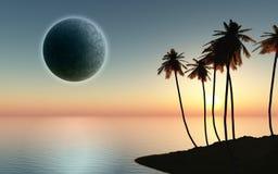 île du palmier 3D avec la planète dans le ciel Photographie stock libre de droits
