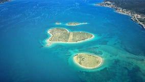 Île en forme de coeur de Galesnjak sur l'Adriatique Image libre de droits