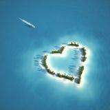 Île en forme de coeur de paradis Photographie stock libre de droits