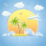 Île et avion illustration stock