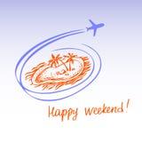 Île et avions de silhouette Logo Design Elements Tourism Ha Photo libre de droits