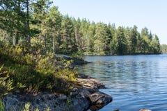 Île, forêt et réflexion dans les eaux calmes du lac Photos stock