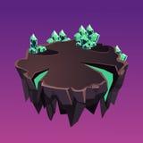 Île isométrique en pierre de bande dessinée avec des cristaux pour Image stock