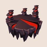Île isométrique en pierre de bande dessinée avec le volcan pour Photo libre de droits
