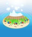 Île, palmiers, le soleil, parapluies sans joint Images libres de droits