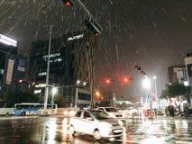 Île pluvieuse de Jeju photographie stock libre de droits