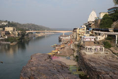 Île sacrée d'Omkareshwar Photo libre de droits