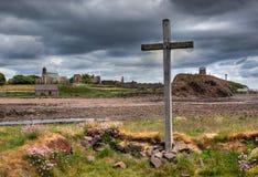 Île sainte le Northumberland, R-U de Lindisfarne images libres de droits
