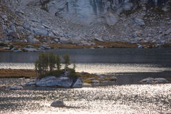 Île sur la haute sierra lac Images stock