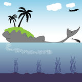 Île sur une baleine Photo libre de droits